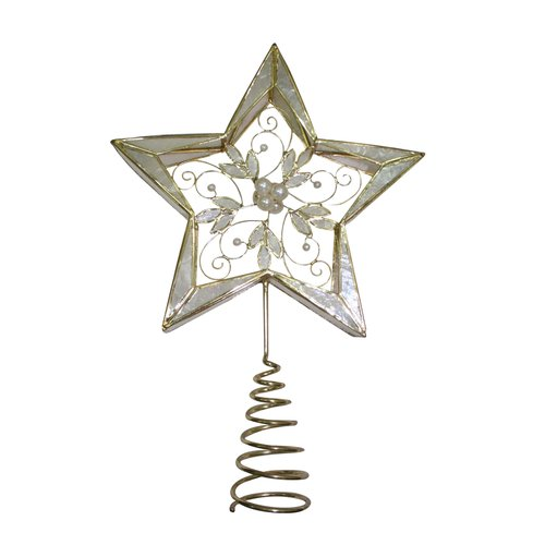 Holiday Time Capiz Open Star Holly Leaves Tree Topper