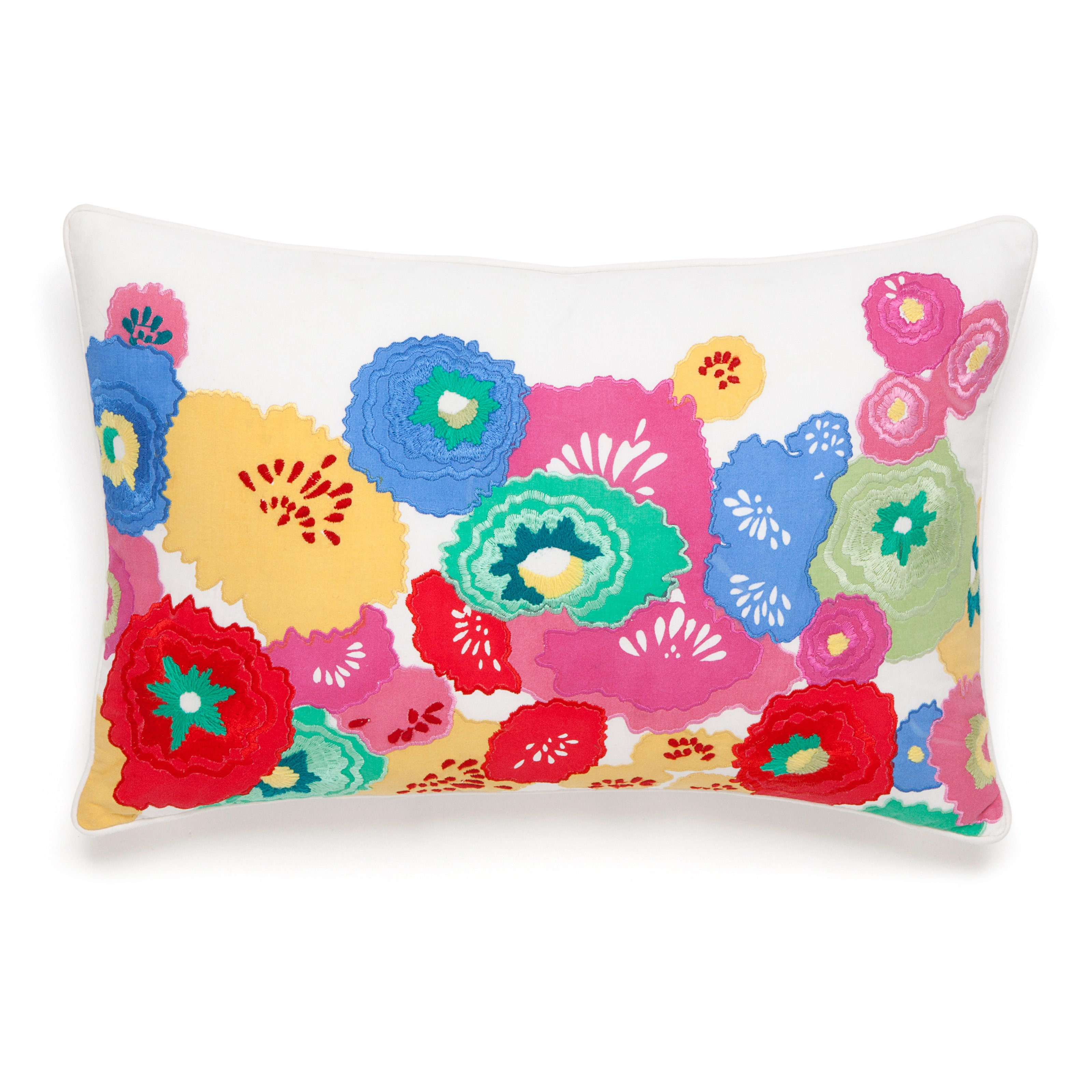 Collier Campbell English Bloom Floral Embroidered Decorative Cotton Lumbar Pillow