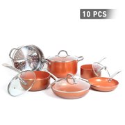 FGY 10-Pieces Copper Nonstick Cookware Set Pots and Pans Set With Lids Ceramic Coated, Induction, Gas, Oven Compatible -Dish Washer and Oven Safe (Bronze)