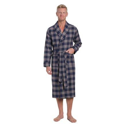 Noble Mount Mens Premium 100% Cotton Flannel Robe (Mens Hooded Robe)