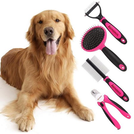 Home Supplies Tool Set 4pcs/Dog Grooming Kit-Best Combing Nail Trimming Brush Cleaning From Pet Toes RllYE ()