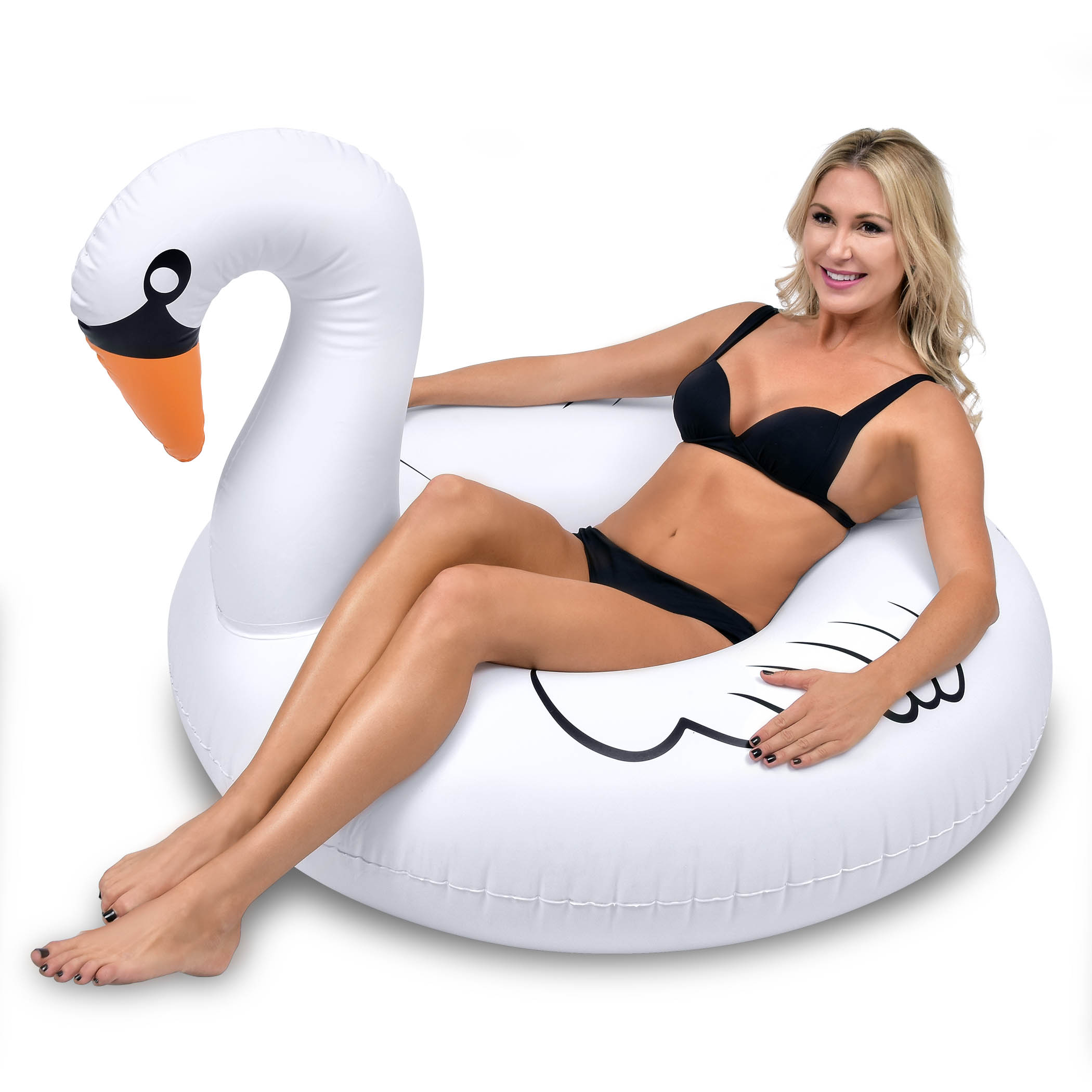 GoFloats Swan Party Tube Inflatable Swimming Pool Raft, Float In Style, for Adults and Kids