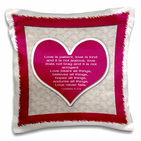 3dRose Red heart and bible verse on love on a lace background., Pillow Case, 16 by (Lace Heart Pillow)