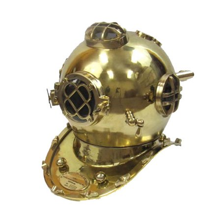 EC World Imports Antique Reproduction Solid Brass U.S. Navy Mark V Diving Helmet