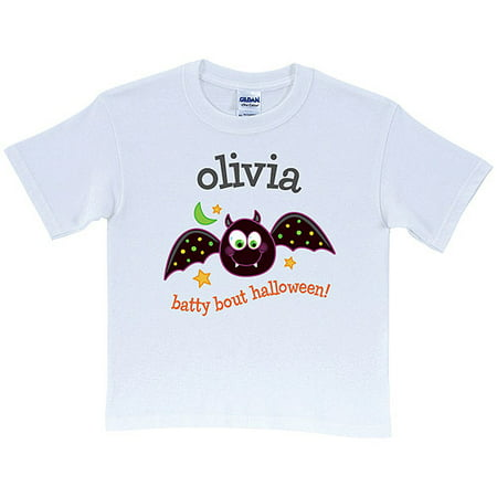 Personalized Batty Bout Halloween Kids' White T-Shirt