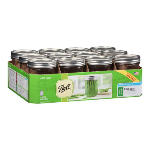 Ball Wide Mouth Pint 16 Oz. Glass Mason Jars with Lids and Bands, 12 Count