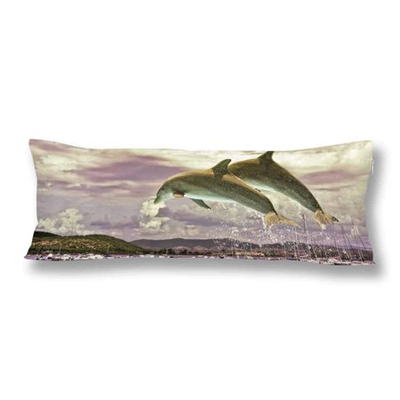 GCKG Ocean Life Dolphin Jumping from Water Body Pillow Covers Pillowcase 20x60 inches, Sea Life Body Pillow Case Protector - image 2 of 2