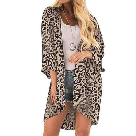 One Shoulder Kimono Top (Tuscom Women Leopard Print Cover Casual Blouse Tops Kimono Bikini Cardigan Capes Cover)