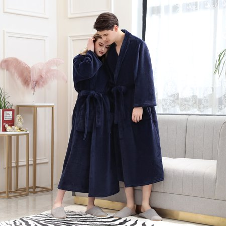 TOPCHANCES Men Women Couple Warm Flannel Shawl Long Bathrobe Lengthen Thicken Hooded Homewear Sleepwear Kimono Robe Coat , Autumn and Winter Hooded Kimono Robe