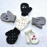 Kids Dot Star Heart Pattern Mittens Boys Girls Soft Knitting Warm Gloves Fashion