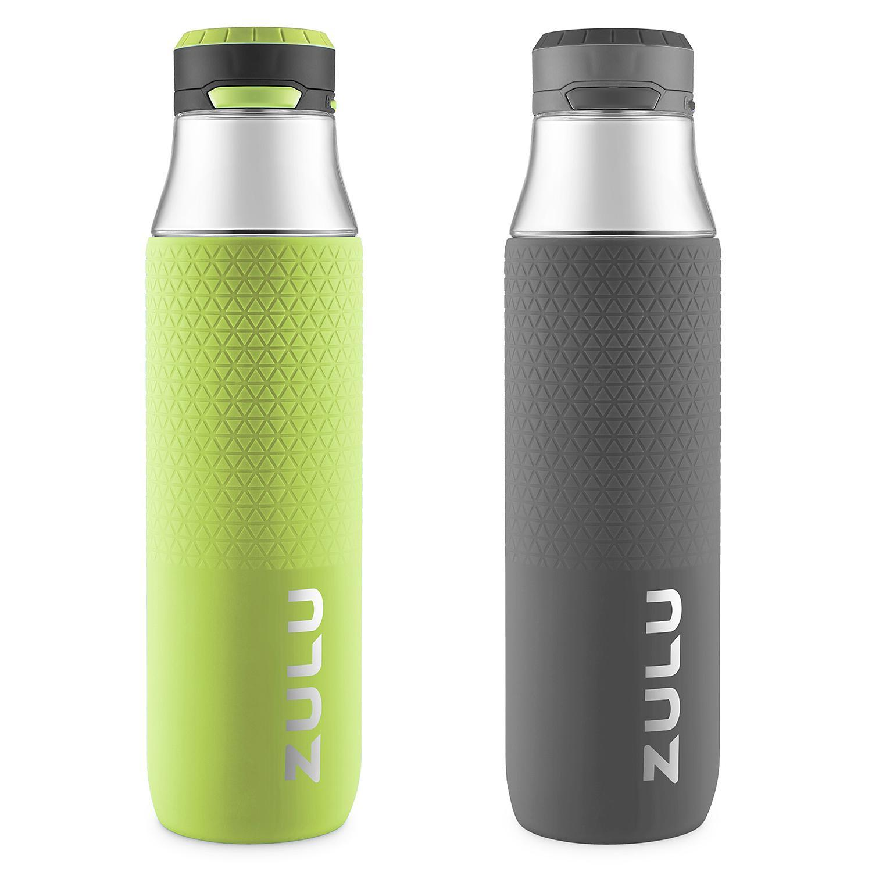 Zulu Studio Glass Water Bottle Grey//Green 26 oz Leapfrog Product Development 839-0199-436