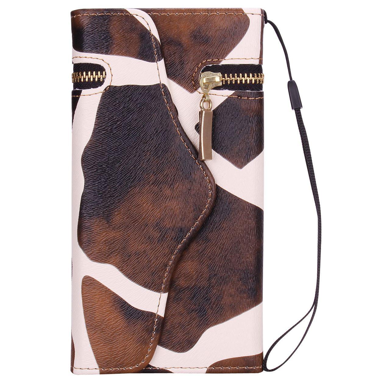 """iPhone 6 Plus, 6s Plus 5.5"""" Wallet Case - True Color® Premium Faux Leather Stylish Giraffe Zipped Wristlet Wallet Case Purse Clutch Cover"""