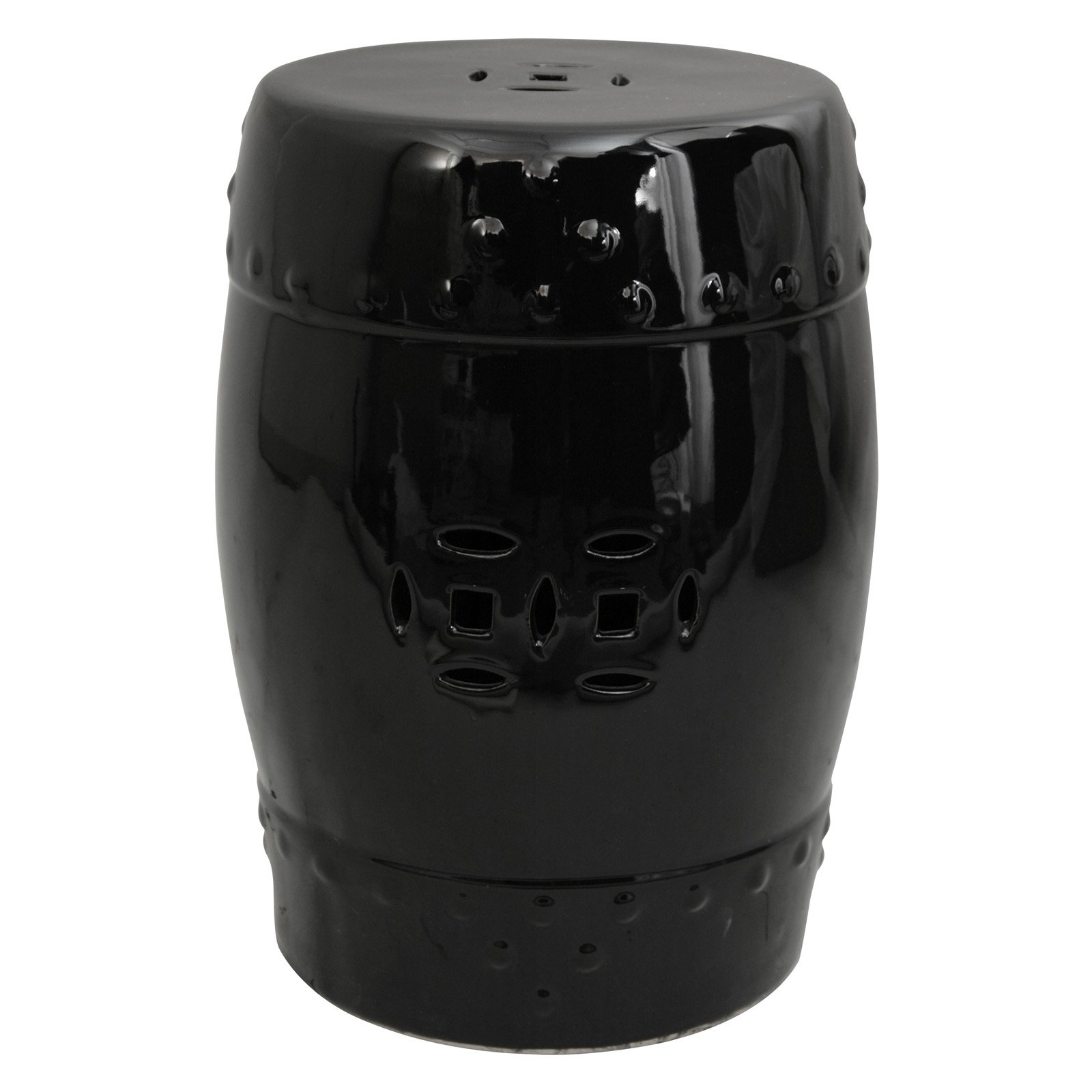 Oriental Furniture Solid Black Porcelain 18 in. Garden Stool
