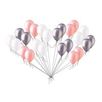 24 pc Chic Coral White Silver Latex Balloons Party Decoration Birthday Baby Girl