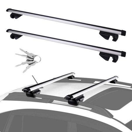 "Adjustable Aluminum 48"" Cross Bar Roof Rack Cargo for Carrier Canoe Kayak Rack Fits Maximum 44"" Car Roof Width for Car Vehicles SUVs with Side Rails"