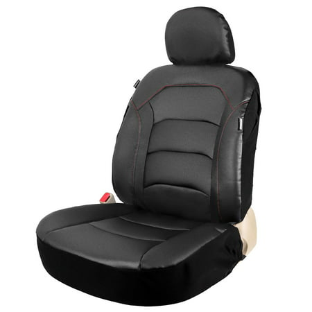 Leader Accessories Universal One Black Leather Bucket Seat Cover for Car Low Back or High Back Front Seats Airbag Compatible