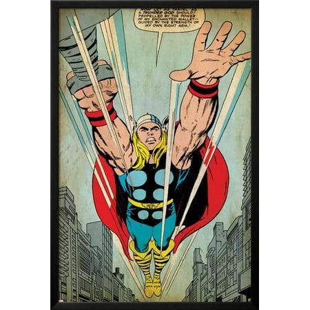 Ages Framed (Marvel Comics Retro: Mighty Thor Comic Panel, Flying (aged) Lamina Framed )