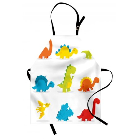 Dinosaur Apron Cute and Funny Dinosaurs Set Cartoon Style Colorful Collection Kids Nursery Theme, Unisex Kitchen Bib Apron with Adjustable Neck for Cooking Baking Gardening, Multicolor, by