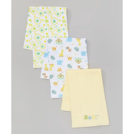 "Spasilk 3 Pack 100% Cotton Burp Cloths, Yellow ""Baby"""