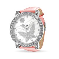 Bling Jewelry CZ Flower Butterfly Pink Leather Womens Watch