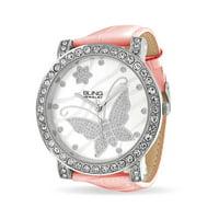 Bling Jewelry CZ Flower Butterfly Pink Leather Steel Back Womens Watch (Pink)