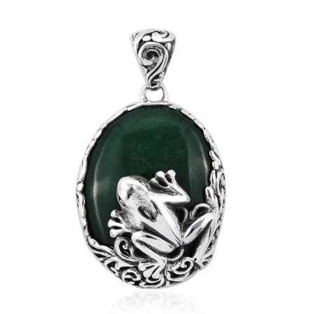 Frog Pendant Necklace 925 Sterling Silver Green Jade Gift Jewelry for Women
