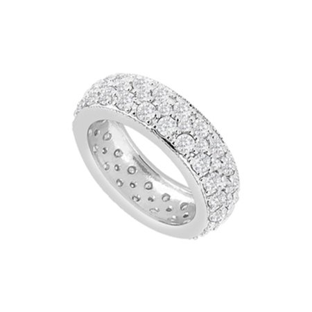 Sterling Silver Pave CZs Three Row Eternity Wedding Band 1.75 Carat CZs - image 1 of 2