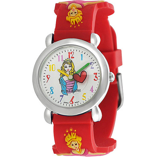 Brinley Co. Girls' Princess Design Watch, Silicone Strap