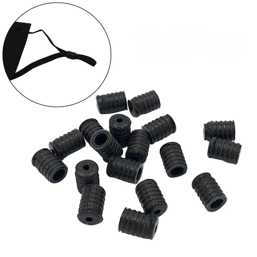 Black, White LUTER 200pcs Cord Locks Toggles Silicone Adjustable Non Slip Stopper Elastic Cord Adjuster for Mask Drawstrings