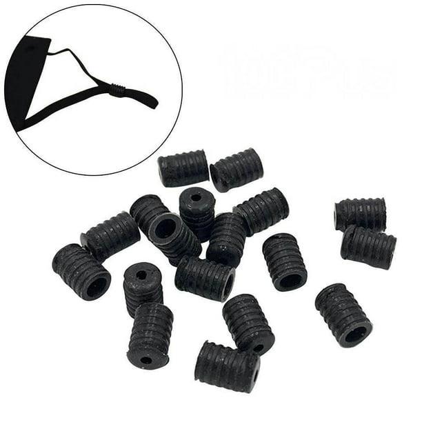 100Pcs Cord Locks Adjuster Non Slip Stopper Silicone Toggles for Drawstrings Elastic Cord