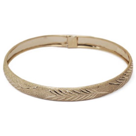 10K Yellow Gold Flexible Bangle Bracelet With Leaf Design Available in 7 and 8 Inch Lengths