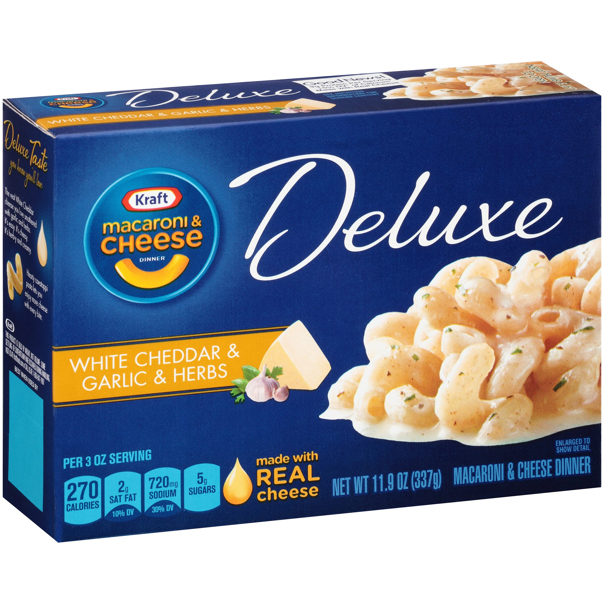 Kraft Macaroni & Cheese Dinner Deluxe White Cheddar, Garlic, Herbs, 11.9 OZ (337g) Box by Kraft Foods Group, Inc.