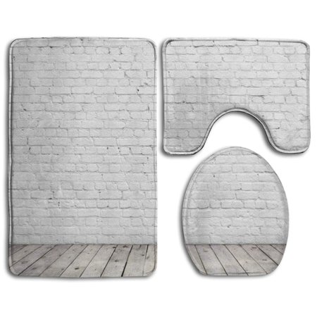 EREHome White Brick Wall Backdrop 3 Piece Bathroom Rugs Set Bath Rug Contour Mat and Toilet Lid Cover - image 1 of 2