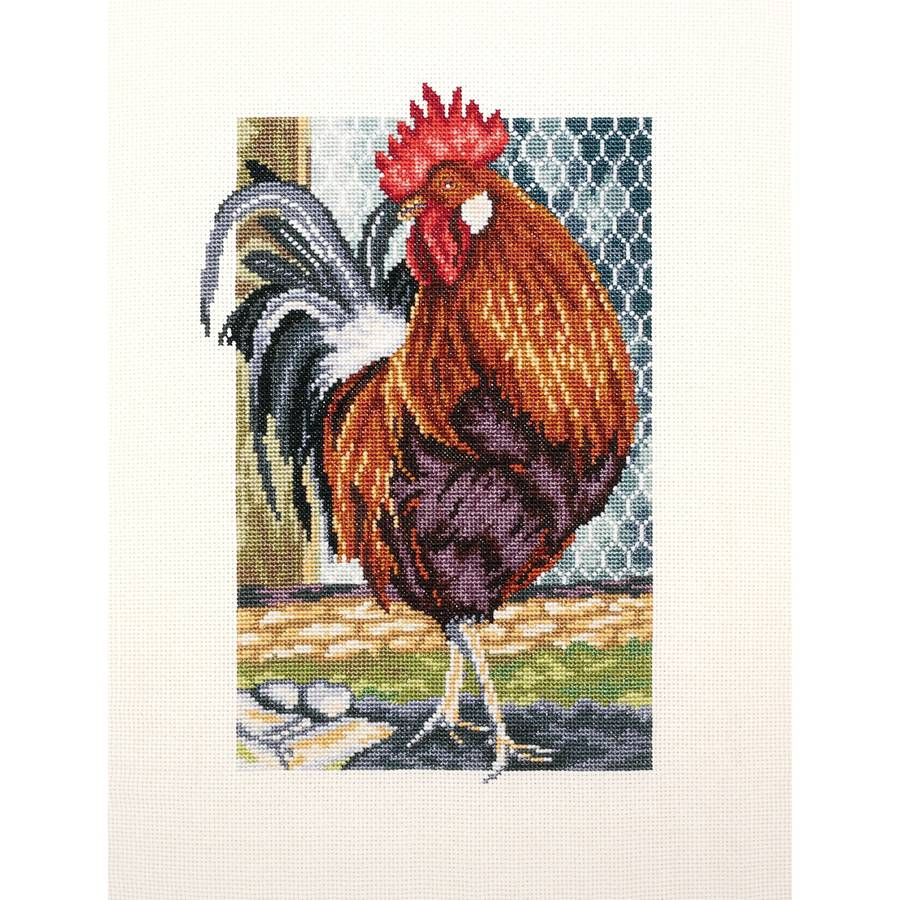 """Rooster Of The Walk Counted Cross Stitch Kit, 6.75"""" x 9.5"""", 18-Count"""