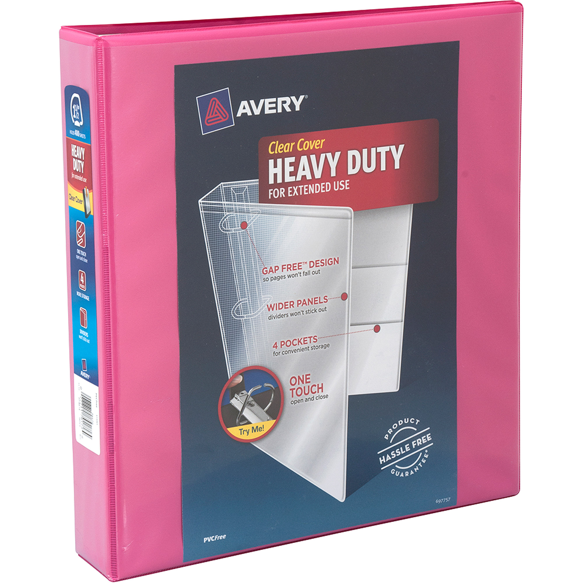 "Avery 1.5"" Heavy-Duty Clear Cover Binder with 1-Touch Slant Ring, Pink"