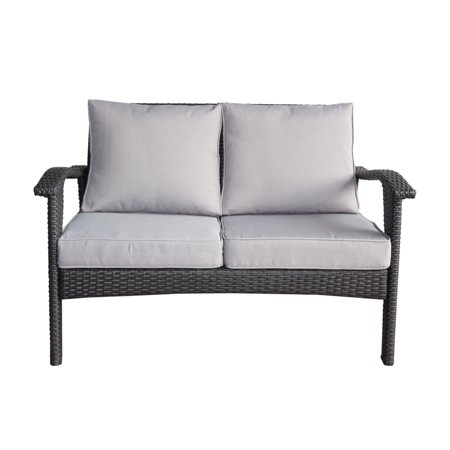Hilary Outdoor Wicker Loveseat With Weather Resistant