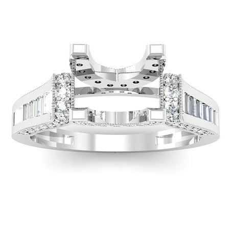 1.00 Carat (Ctw) 14k White Gold Round & Baguette Diamond Ladies Bridal Semi Mount Ring (No Center Stone) (Size 7) Baguette Diamond Ring Setting Mounting