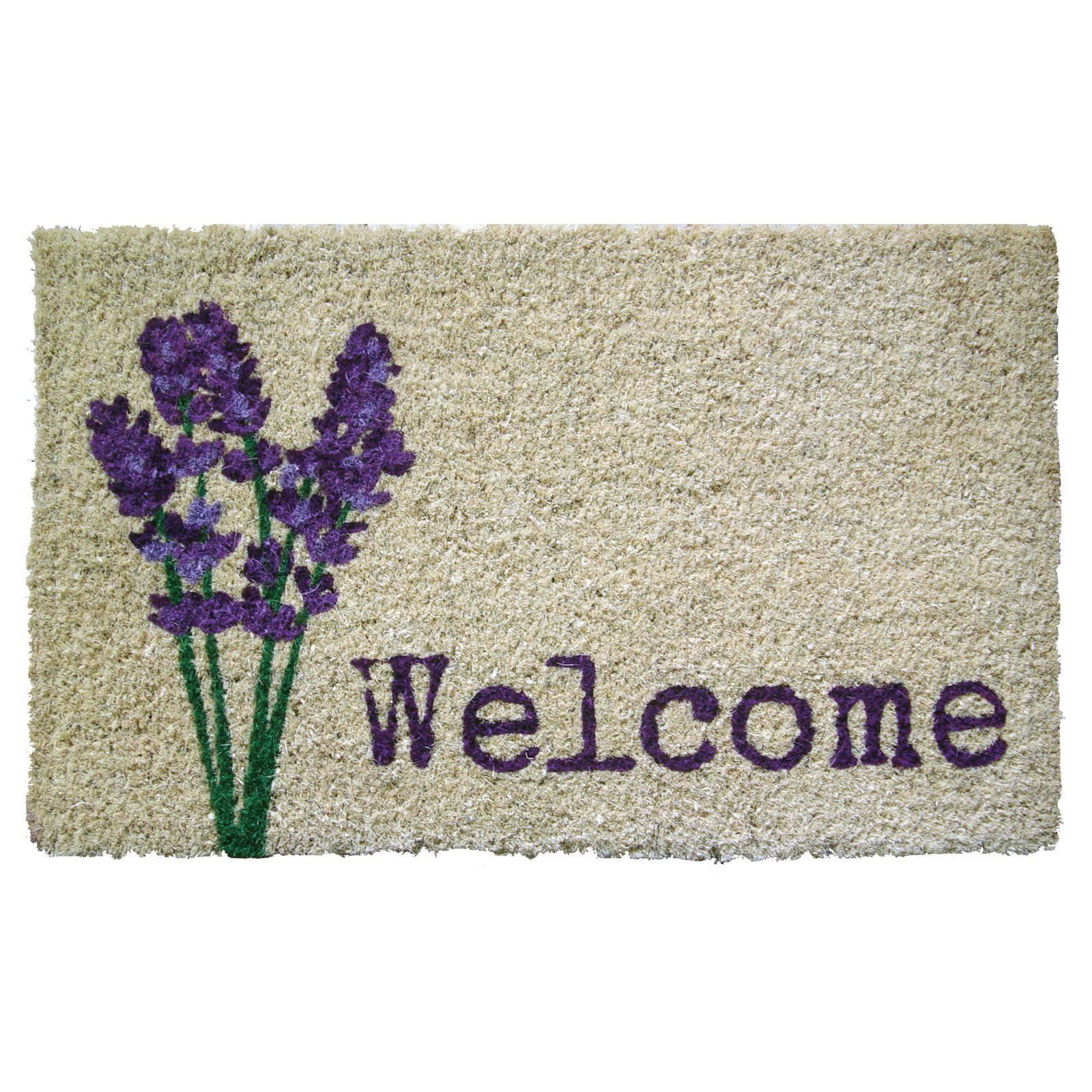 Entryways Lavender Welcome Handwoven Coconut Fiber Indoor/Outdoor Doormat