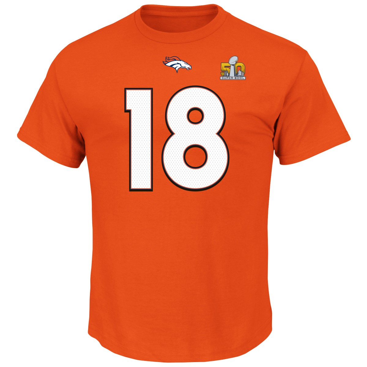Peyton Manning Denver Broncos Majestic NFL Super Bowl 50 Player T-shirt