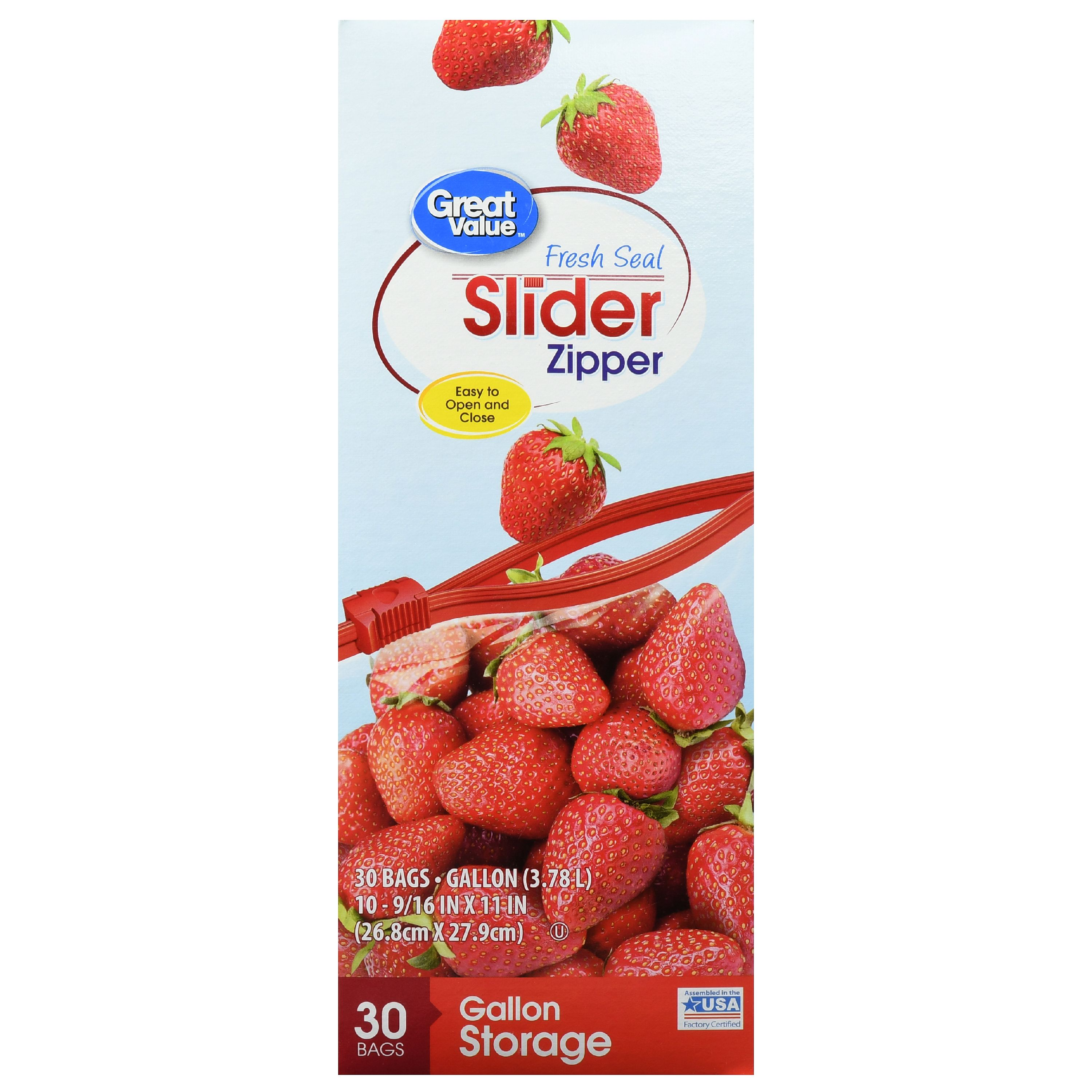 Great Value Slider Zipper Freezer Bags, Gallon, 30 Count