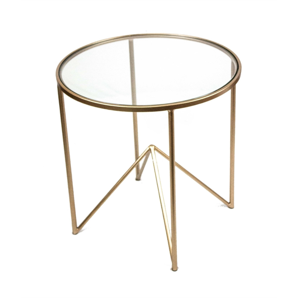 Beautifully Designed Round Metal And Glass Accent Table, Gold by Benzara