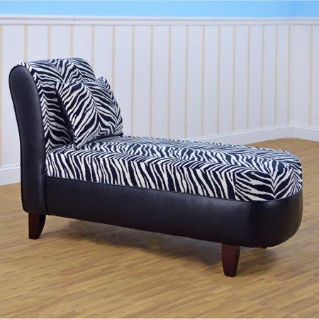 kangaroo tween zebra pattern chaise lounge. Black Bedroom Furniture Sets. Home Design Ideas