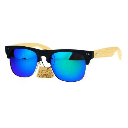 SA106 Real Bamboo Wood Arm Mirror Lens Hipster Half Rim Sunglasses Black Teal - Teal Sunglasses