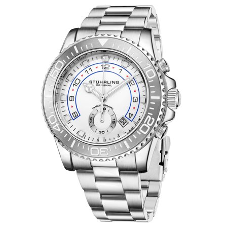 Men's 3966.1 Chronograph Diver, White Dial, Grey Bezel, Silver Bracelet Watch
