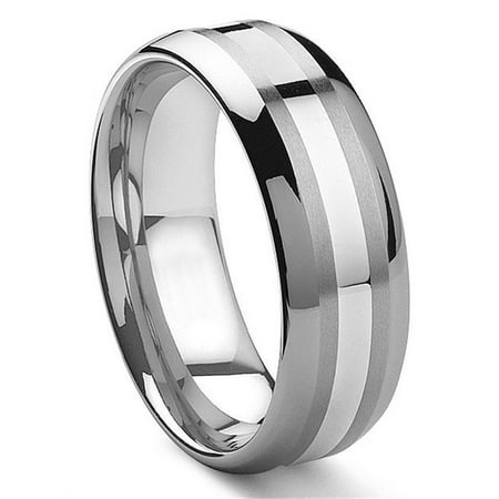 8MM Tungsten Carbide 14K White Gold Inlay Wedding Band Ring Sz 10.0 14k Gents Wedding Band