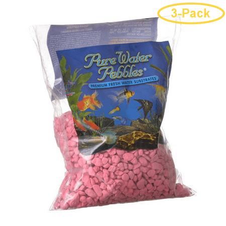 Neon Pebble - Pure Water Pebbles Aquarium Gravel - Neon Pink 2 lbs (3.1-6.3 mm Grain) - Pack of 3