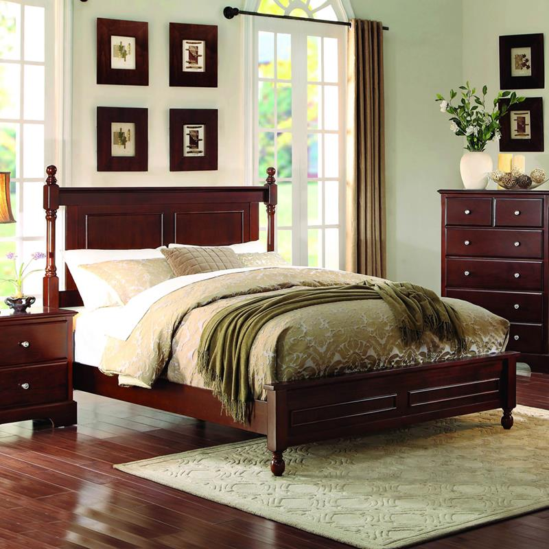 Homelegance Morelle Low Poster Bed in Cherry - (Queen)