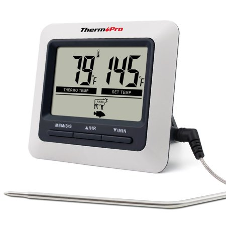 ThermoPro TP04 Large LCD Digital Cooking Kitchen Food Meat Thermometer for BBQ Grill Oven Smoker Built-in Clock Timer with Stainless Steel Probe