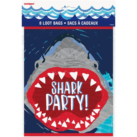 Shark Party Goodie Bags, 9 x 7 in, 8ct - Superhero Goodie Bags