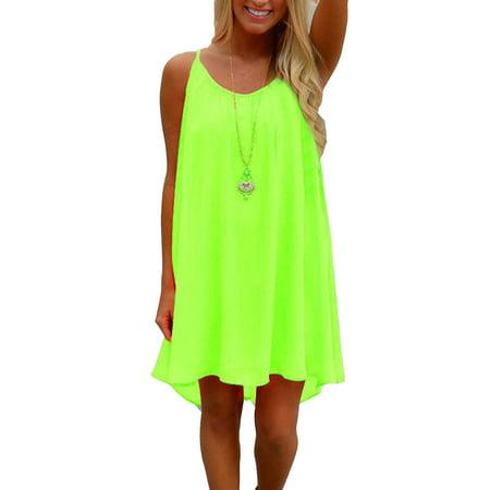 Fashion S-3XL Plus Size Loose Asymmetrical Hem Mini Dress Ladies Casual Summer Short Dresses for Women Sleeveless Strap Boho Sundress